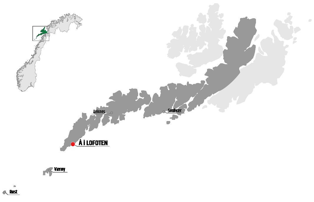 Map showing Å in relation to Leknes, Værøy and Svolvær