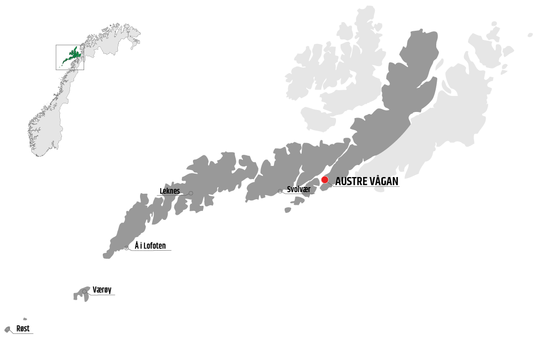 Map showing the area of Austre Vågan