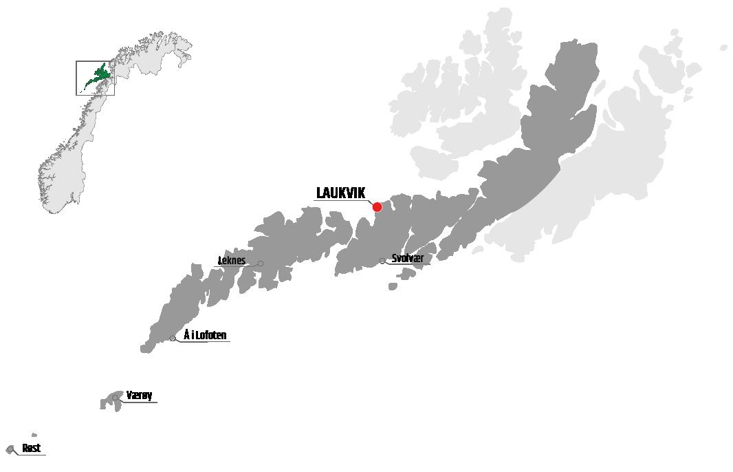 Map showing Laukvik in relation to Leknes, Værøy and Svolvær