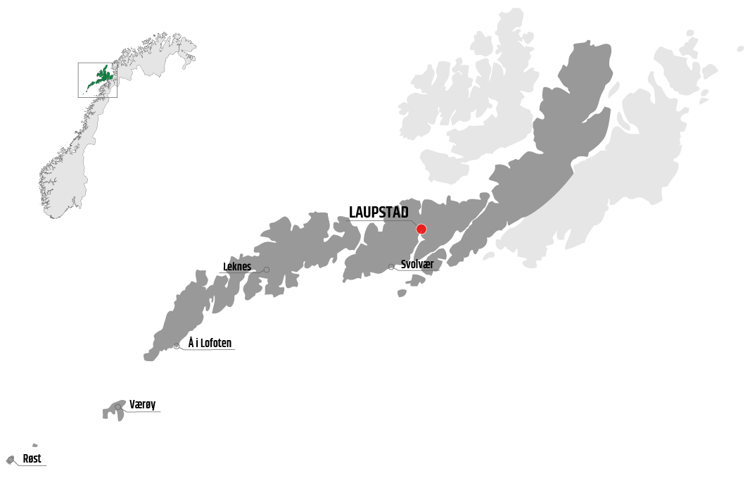 Map showing Laupstad in relation to Leknes, Værøy and Svolvær