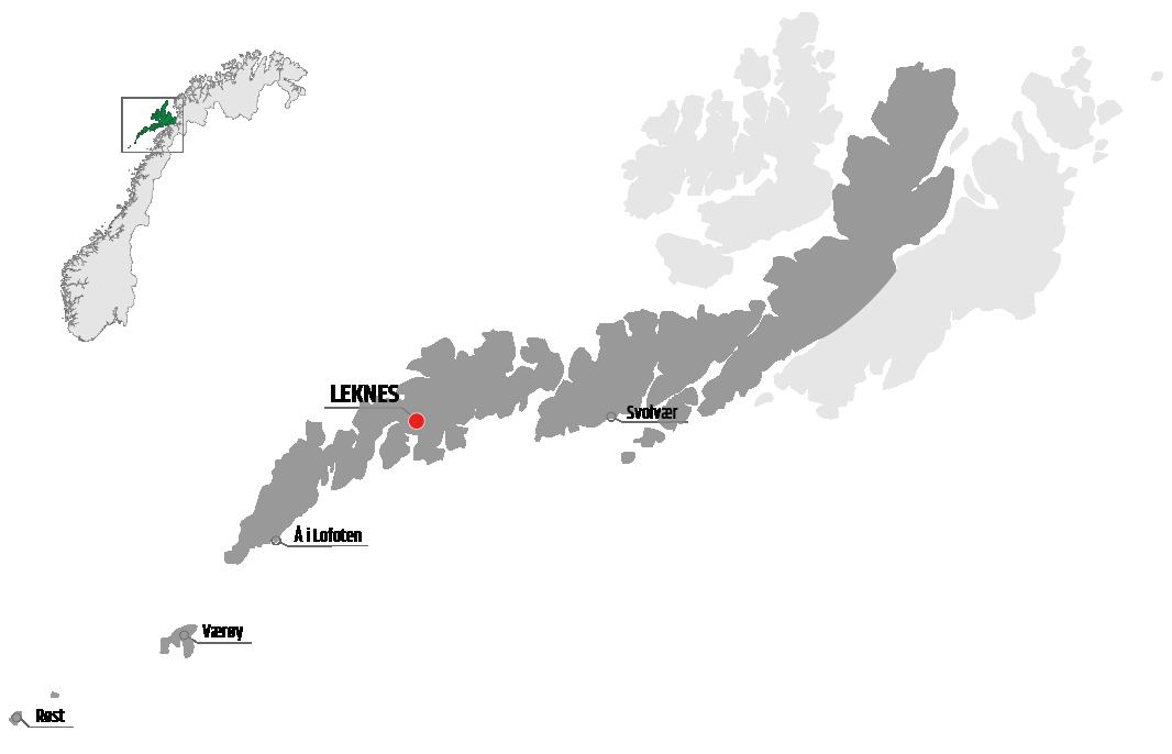Map showing Leknes in relation to, Å, Værøy and Svolvær