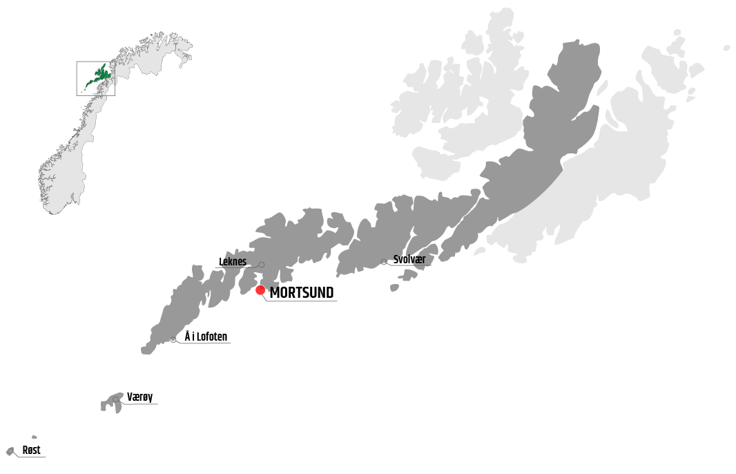Map showing Mortsund in relation to Leknes, Værøy and Svolvær