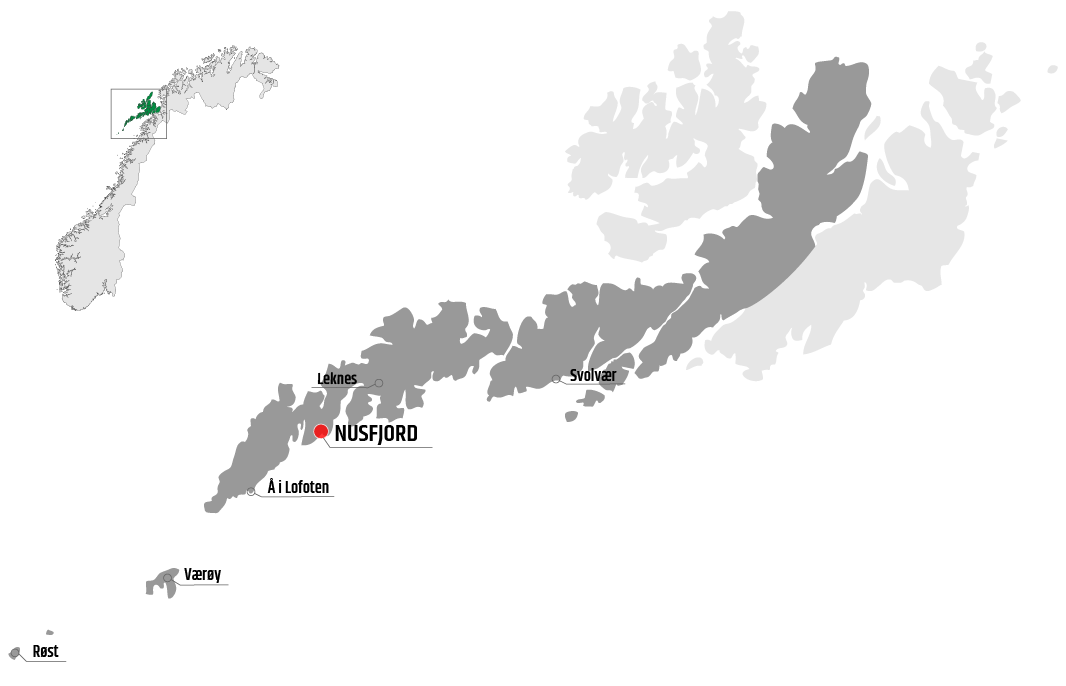 Map showing Nusfjord in relation to Leknes, Værøy and Svolvær