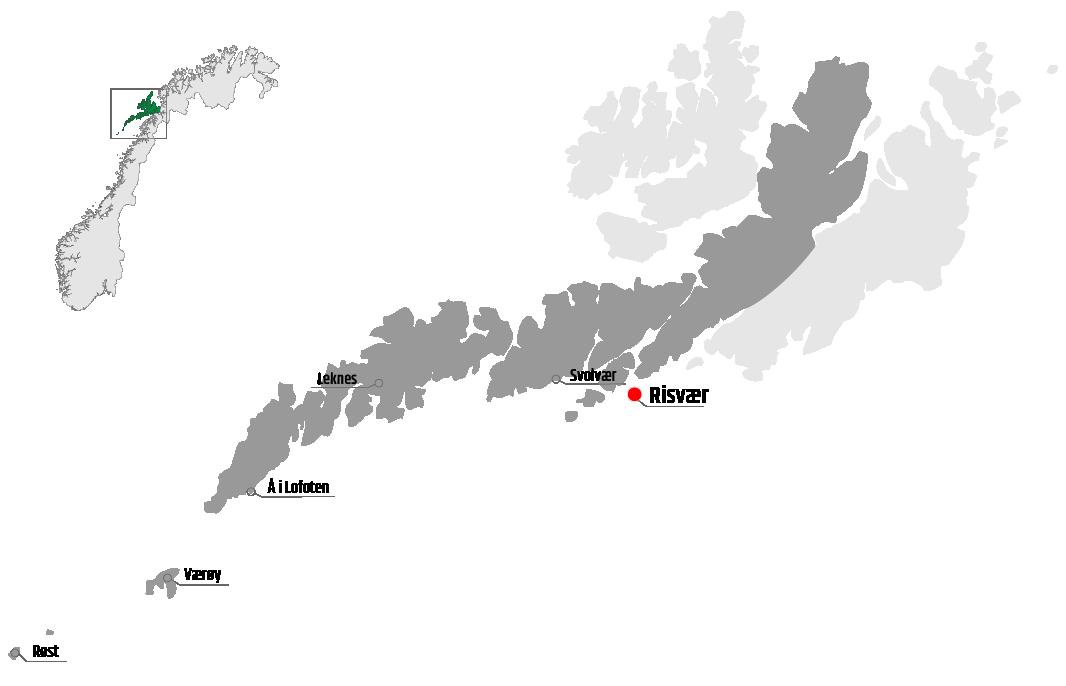 Map showing Risvær in relation to Leknes, Værøy and Svolvær