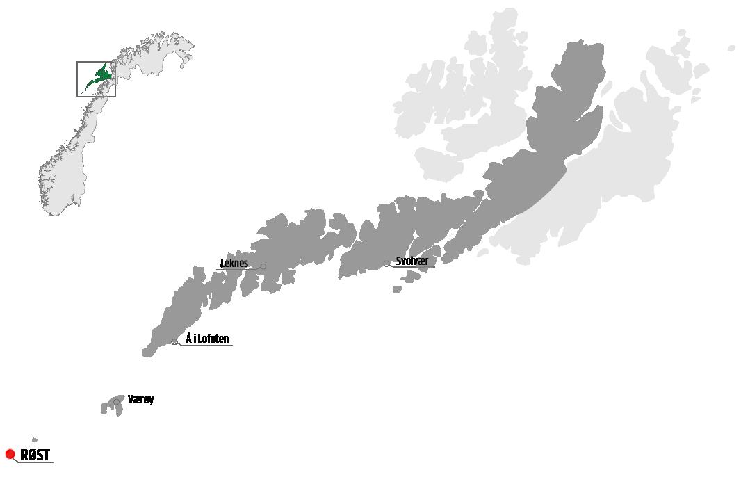 Map showing Røst in relation to Leknes, Værøy and Svolvær