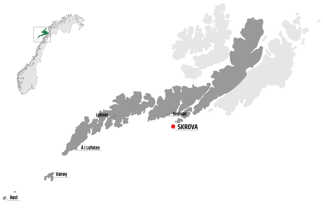 Map showing Skrova in relation to Leknes, Værøy and Svolvær