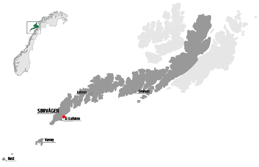 Map showing Sørvågen in relation to Leknes, Værøy and Svolvær