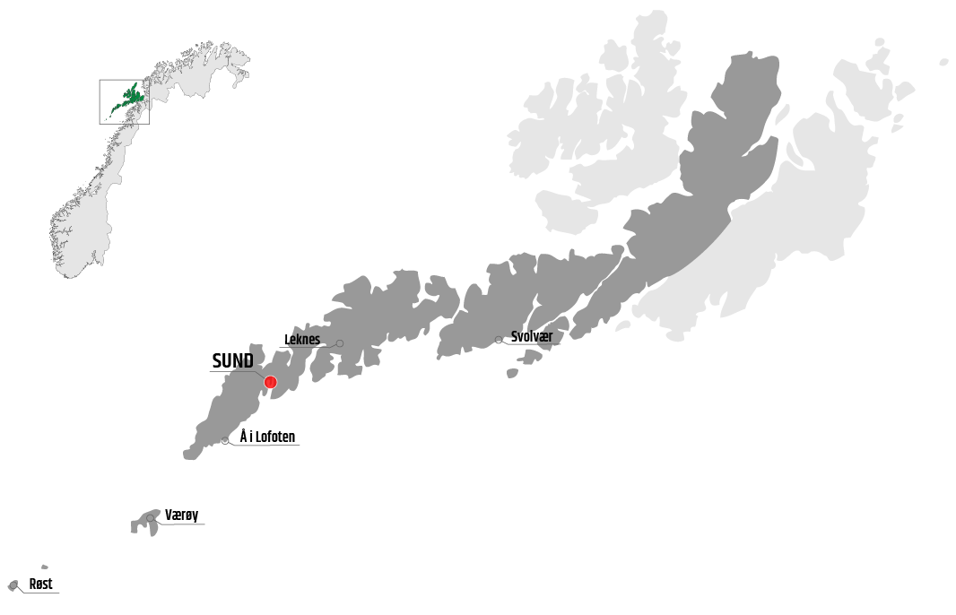 Map showing Sund in relation to Leknes, Værøy and Svolvær