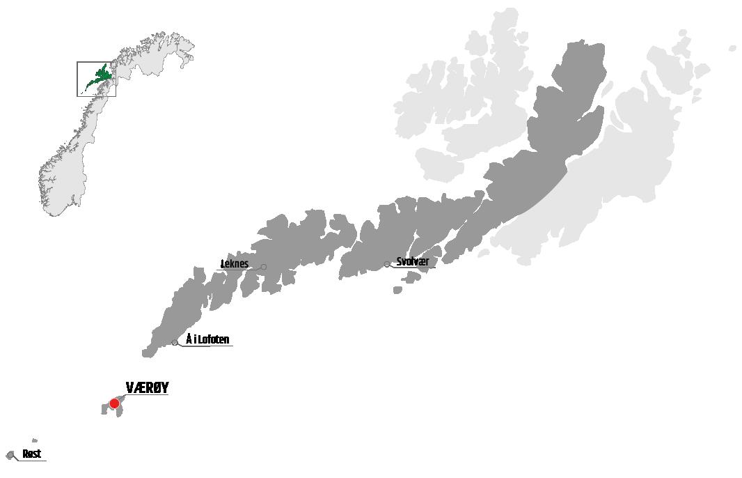 Map showing Værøy in relation to Leknes, Røst and Svolvær