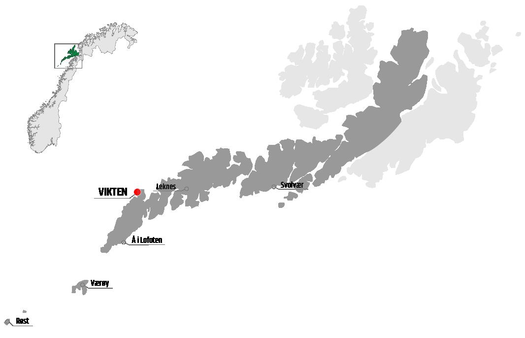 Map showing Vikten in relation to Leknes, Værøy and Svolvær